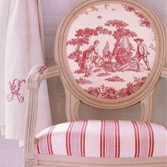 pink and white ticking and toile chair