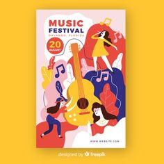 Hand-drawn music festival poster with guitar Free Vector Graphic Design Posters, Graphic Design Illustration, Graphic Design Inspiration, Flat Design Poster, Musikfestival Poster, Musik Illustration, Retro Logos, Vintage Logos, Vintage Typography