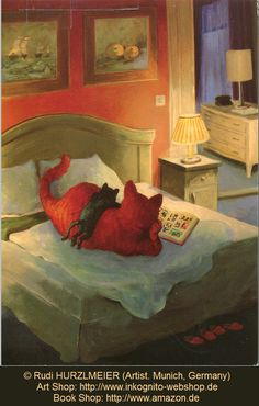 © Rudi HURZLMEIER (Artist. Munich, Germany).  Over 250 different prints available at : http://www.inkognito-webshop.de  Book Shop: http://www.amazon.de ... A number of online poster shops also carry his art ... Fun stuff. He & Michael Sowa are favorites ...  Cats reading in bed. Orange cat reads a picture book to its kitten.