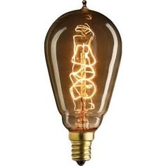 Plt 25 Watt - Vintage Antique Light Bulb - ST15 Edison Style - Candelabra Base - Hand-Wound Spiral Tungsten Filament - Multiple Supports - Clear