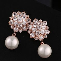 rose gold drop earrings with pearl for wedding EWAER054