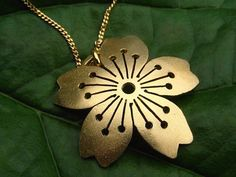 18 ct gold Vermeil Domed Sakura Pendant