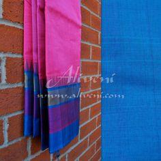 Light Pink Kuppadam Saree with Broad Blue/Purple/Zari Temple Border