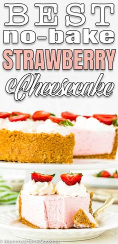 This Best No-Bake Strawberry Cheesecake is rich, creamy, sweet and so refreshing! Its light and perfectly balanced flavor will magically melt in your mouth. #recipe #eggless #eggfree #cheesecake #strawberry #nobake #easy #fromscratch #filling #withcondensedmilk #best #simple via @mommyhomecookin Eggless Cheesecake Recipe, Eggless Recipes, Cheesecake Desserts, Healthy Recipes, Make Ahead Desserts, Delicious Desserts, Dessert Recipes, Yummy Food, Delicious Dishes