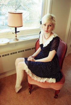 Lace and polka dots! (by Elin .) http://lookbook.nu/look/1234363-Lace-and-polka-dots