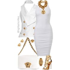 A fashion look from September 2015 featuring Balmain tops, Giuseppe Zanotti sandals and Versace shoulder bags. Browse and shop related looks.