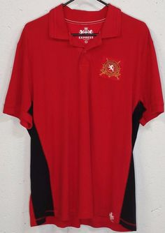 Express Mens Red Black 100% Cotton Short Sleeve Polo Shirt XL #Express #PoloRugby