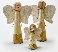 Styrofoam Cone Angel Family - This would be cute without the creepy faces.