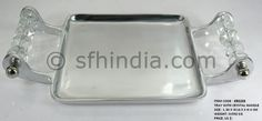 Crystal Handle Aluminium Square Serving Tray