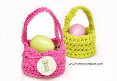 Mini Crochet Easter Baskets tutorial via cherishedbliss.com #Easter #crochet