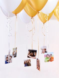 A creative way to decorate and share the memories. Fill a room with helium balloons and tape square prints to the strings. After the party, keep the photos for the perfect dorm room décor!PrintsGraduation Party Ideas Video