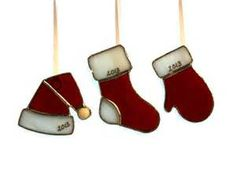 Items similar to Christmas Ornaments Stained Glass 2013 Suncatchers on Etsy
