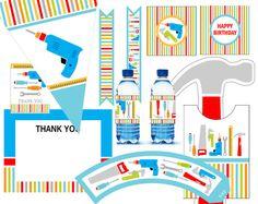 Tool Party Kit Printable  digital files  11 pcs  by eloycedesigns