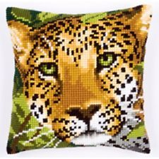 Leopard Head - Vervaco Large Holed Tapestry Cushion Kit - PN-0144823