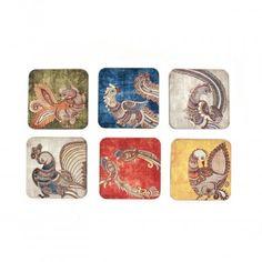 Kalamkari Coaster Set,  A set of 6 coasters in different colours and a traditional peacock kalamkari design.