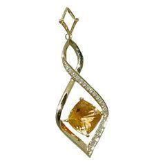Citrine Necklace With 0.11 Cttw. Diamonds https://www.goldinart.com/shop/necklaces/colored-gemstones-necklaces/citrine-necklace-0-11-cttw-diamonds #14KaratYellowGold, #Citrine, #Diamonds