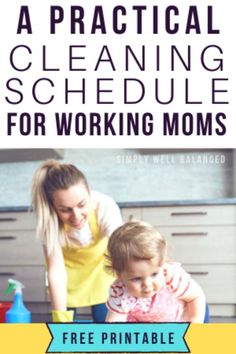 A realistic cleaning schedule for working moms. Learn quick and easy daily and weekly cleaning routines to keep a clean house as a full-time working mom. Monthly Cleaning Schedule, House Cleaning Checklist, Clean House Schedule, Weekly Cleaning, Cleaning Routines, Cleaning Lists, Daily Schedules, Cleaning Hacks, Housework Schedule