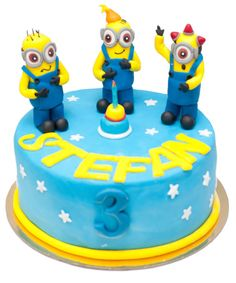 Minion-Cakejpg Little Poney, Marzipan, Angry Birds, Mickey Mouse, Birthday Cake, Desserts, Food, Tailgate Desserts, Deserts