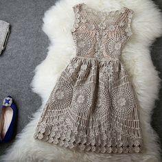 Vintage Embroidery Crochet Hollow Out Sleeveless Gathered Waist Tank Dress [grzxy6601068]