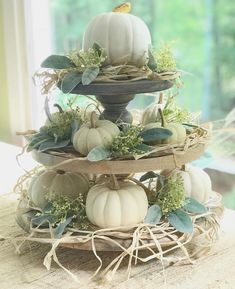 DIY Fall Floral Arrangement on a Tiered Tray Done Two Ways - Celebrated Nest