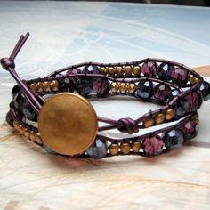 Leather Wrap Bracelet in Purple Swarovski Crystals by bysugarbabe, $31.00