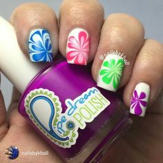 repost via @instarepost20 from @nailsbykball Neon #watermarble flowers!  Note to self, when you have the hiccups, it's really not a good time to do anything nail related.  Totally messed up my pointer & especially my pinky, but I was too tired to fix  anywho: Polishes used @pipedreampolish All In, On The List, Highroller & VIP Pass #hkgirltopcoat and I used my pink brush from @joliepolish#instarepost20