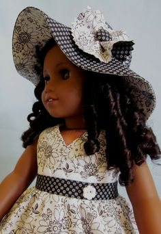 American Girl Clothes  - Crossover Bodice Dress and Hat in Black and White Print. via Etsy.