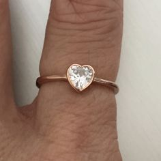 Rose Gold Plated Sterling Silver CZ Heart Ring, Toe Ring, Midi Ring, Pinky Ring, Index Ring, Thumb Ring by IndigoandJade on Etsy