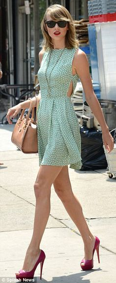 Not so swiftly: The star did not seem in a hurry as she walked around the Big Apple