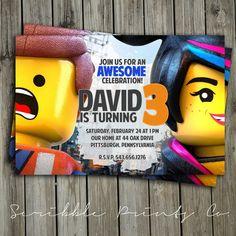 Lego Movie Birthday Party Invitation Emmet by ScribblePrintsCo