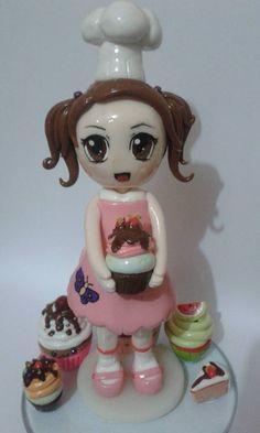 Meu primeiro topinho de bolo para uma festa com tema de doceria. Que chef fofa! <3 #CakeTopper