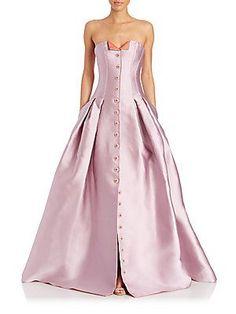Carolina Herrera Strapless Duchess Satin Gown - Pastel Purple - Size 4