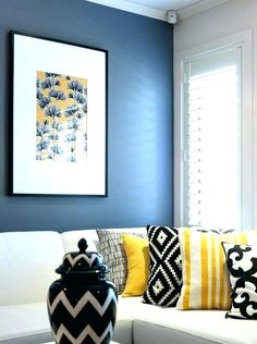 Blue and yellow room awesome yellow bedroom ideas yellow black and white bedroom black white and . blue and yellow room Blue Bedroom Decor, Blue Living Room Decor, Grey Home Decor, Living Room White, Living Room Colors, Living Room Paint, New Living Room, Bedroom Yellow, Bedroom Ideas