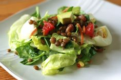 hard boiled egg, avocado, lentil & tomato salad