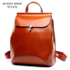 SUNNY SHOP Japan and Korean Style Genuine Leather Women Backpack Vintage School Backpack. Item Type: BackpacksBrand Name: SUNNY SHOPGenuine Leather Type: Cow LeatherGender: WomenLining Material: PolyesterClosure Type: HaspCapacity: Below 20 LitreRain Cover: NoPattern Type: SolidInterior: Cell Phone Pocket,Interior Zipper Pocket,Interior Slot PocketBackpacks Type: SoftbackCarrying System: Resin MeshHandle/Strap Type: Soft HandleMain Material: Genuine LeatherDecoration: NoneExterior…