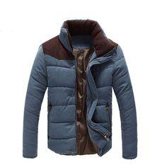 Men\u0027s High-Quality Down Color-Block Casual Winter Jacket Coat 3 Colors M-3XL