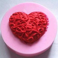 herzförmige Schokolade Fondant Kuchen Silikonform Kuchen Dekorationswerkzeuge, l4.8cm * w4.8cm * h1.2cm - EUR € 2.49