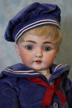 20 Inch Antique Kestner 143 dressed as Sailor Boy German Bisque Doll circa 1879