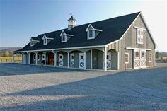 Mid-Sized Barns - Foxcote Farm - Unionville, Pennsylvania - 9 horse stalls, wash stall, tack room, grain room, laundry room, bathroom, full length porch, full loft