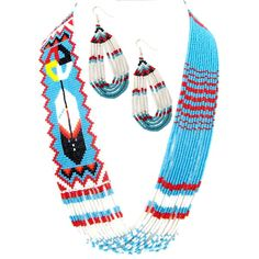 "Eagle Spirit Native American Store - ""Medicine Wheel & Feather Necklace Set"""