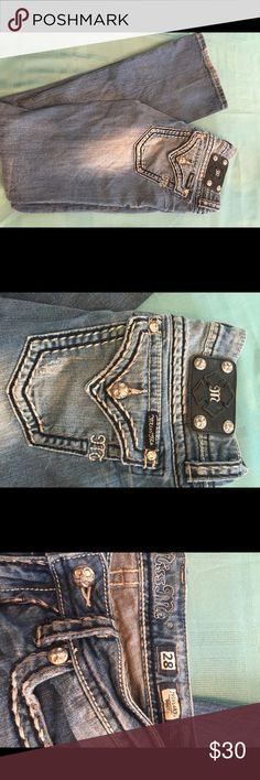 Miss me jeans Miss me jeans. All buttons zippers work. If you don't like the boot they would be awesome cut into shorts. Cool jeans! Hate to sell. Don't fit daughter. Miss Me Jeans Boot Cut