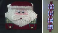 Santa Napkin Holder, Noel Hanging Wall Decor - plastic canvas
