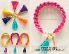 crochet-wrapped bracelets w/ tassel charms | Crochet Jewels