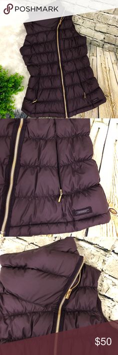 Athleta Down About Puffy Vest Wild Raisin Purple Athleta Down About Vest Wild Raisin Purple Down Puffy Vest Womens Size small Color: Wild Raisin (deep purple color) Material: Shell- 100% polyester, filler- goose down Semi-fitted Gold hardware Asymmetrial full front zip w/ crossover big comfy collar 2 front invisible zip pockets w/ cozy plush tech lining (some pilling inside pockets) Insul8 800 fill down Warmth with minimal weight Water repellent No stains, holes, or tears. Measurements…