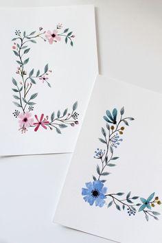Doodle art 753790056370791603 - Floral Letters – Lettres florales – Source by Wall Letter Decals, Letter Art, Wall Decals, Wall Sticker, Wall Décor, Watercolor Cards, Floral Watercolor, Watercolor Lettering, Watercolor Ideas