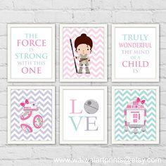 Princess Leia Rey Star Wars Nursery Art Prints. by waiwaiartprints