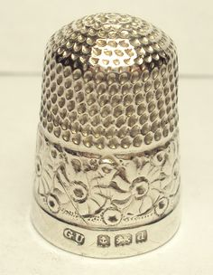 Beautiful 1900s Sterling Silver England George Unite Thimble with Sunflower Band   eBay