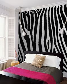 Zebra wall mural for bedroom more of a cheetah girl but love the idea for any pattern or accent My New Room, My Room, Girl Room, Girls Bedroom, Wall Murals Bedroom, Bedroom Decor, Bedroom Ideas, Zebra Print Bedroom, Zebra Bedrooms