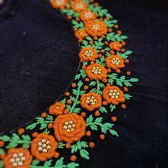 Embroidery On Kurtis, Hand Embroidery Dress, Kurti Embroidery Design, Embroidery On Clothes, Embroidery Works, Flower Embroidery Designs, Simple Embroidery, Bullion Embroidery, French Knot Embroidery
