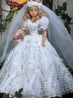 Crochet - Doll Patterns - Doll Clothes Patterns - Fashion Doll Wedding Gown II